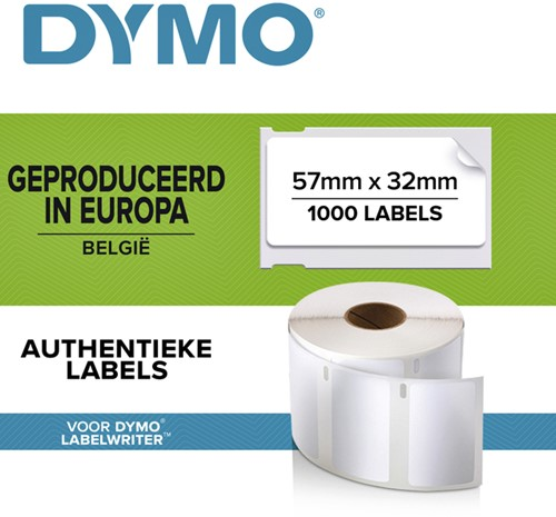 LABEL ETIKET DYMO 11354 57MMX32MM WIT 1000 Stuk