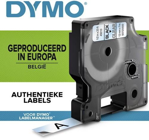 LABELTAPE DYMO 45010 12MMX7M D1 TR/ZWART 1 Stuk