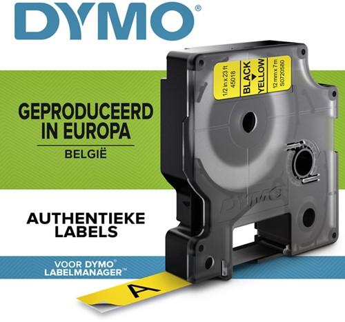 LABELTAPE DYMO 45018 12MMX7M D1 GEEL/ZWART 1 Stuk