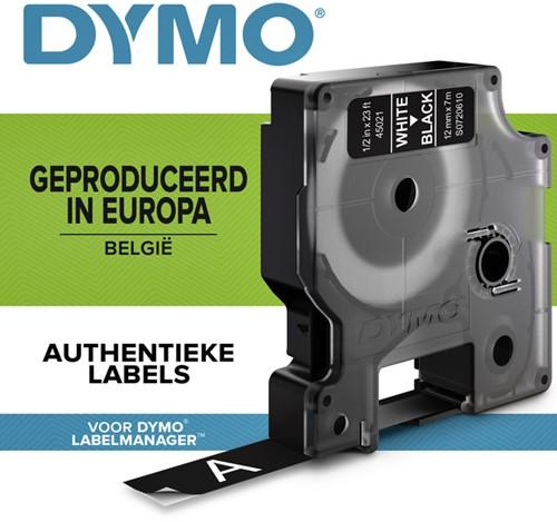 LABELTAPE DYMO 45021 12MMX7M D1 ZWART/WIT 1 Stuk