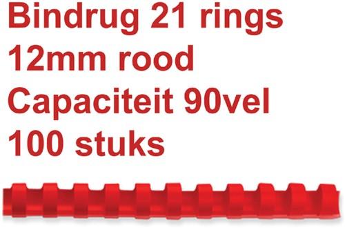 BINDRUG GBC 12MM 21RINGS A4 ROOD 100 Stuk