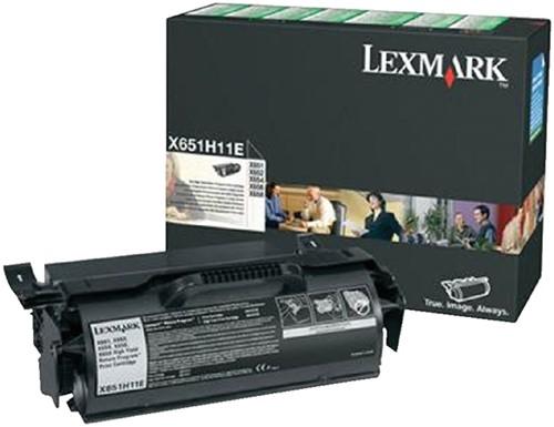TONERCARTRIDGE LEXMARK X651H11E PREBATE 25K ZWART 1 Stuk