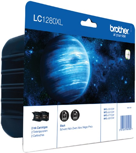 INKCARTRIDGE BROTHER LC-1280XL 2X ZWART 2 Stuk
