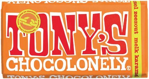 TONY'S CHOCOLONELY MELK KARAMEL ZEEZOUT 180GR 180 Gram