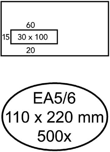 ENVELOP QUANTORE VENSTER EA5/6 VL30 80GR WIT 500 Stuk