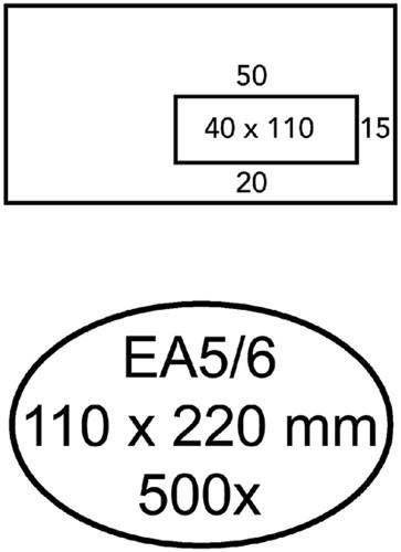 ENVELOP HERMES VENSTER EA5/6 VR V10 4X11 80GR ZK WIT 500 Stuk