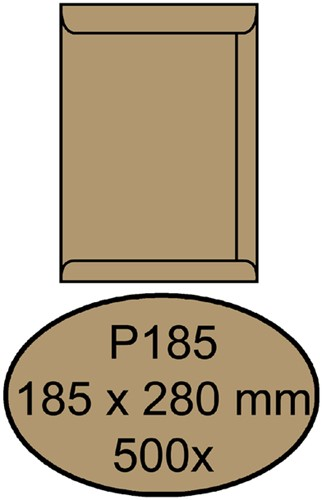 ENVELOP QUANTORE AKTE P185 185X280 90G BRUINKRAFT 500 Stuk