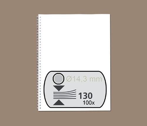 DRAADRUG GBC 14.3MM 34RINGS A4 ZILVER 100 Stuk